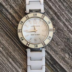 Anne Klein White & Silver Watch